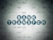 Banking concept: Bank Transfer on Digital Data Paper background. Banking concept: Painted blue text Bank Transfer on Digital Data Paper background with Currency Stock Image