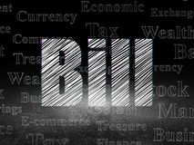 Banking concept: Bill in grunge dark room. Banking concept: Glowing text Bill in grunge dark room with Dirty Floor, black background with  Tag Cloud Stock Photography