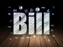 Banking concept: Bill in grunge dark room. Banking concept: Glowing text Bill,  Hand Drawn Finance Icons in grunge dark room with Wooden Floor, black background Stock Photos