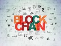 Banking concept: Blockchain on Digital Data Paper background Royalty Free Stock Images