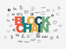 Banking concept: Blockchain on wall background. Banking concept: Painted multicolor text Blockchain on White Brick wall background with  Hand Drawn Finance Icons Stock Image