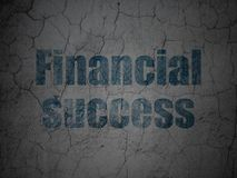 Banking concept: Financial Success on grunge wall background. Banking concept: Blue Financial Success on grunge textured concrete wall background Royalty Free Stock Images