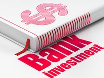 Banking concept: book Dollar, Bank Investment on white background. Banking concept: closed book with Red Dollar icon and text Bank Investment on floor, white Royalty Free Stock Image