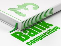 Banking concept: book Pound, Bank Cooperative on white background. Banking concept: closed book with Green Pound icon and text Bank Cooperative on floor, white Royalty Free Stock Photos