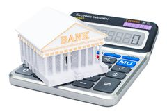 Banking concept with calculator, 3D rendering. Isolated on white background Stock Photography