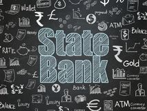 Banking concept: State Bank on School board background. Banking concept: Chalk Blue text State Bank on School board background with  Hand Drawn Finance Icons Stock Photos