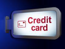 Banking concept: Credit Card and Credit Card on billboard background. Banking concept: Credit Card and Credit Card on advertising billboard background, 3D Stock Photography