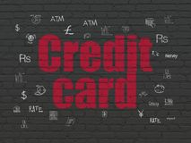 Banking concept: Credit Card on wall background. Banking concept: Painted red text Credit Card on Black Brick wall background with  Hand Drawn Finance Icons Stock Photos