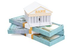 Banking concept with dollar packs, 3D rendering. Isolated on white background Royalty Free Stock Image