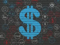 Banking concept: Dollar on wall background. Banking concept: Painted blue Dollar icon on Black Brick wall background with Scheme Of Hand Drawn Finance Icons Royalty Free Stock Images