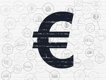 Banking concept: Euro on wall background. Banking concept: Painted black Euro icon on White Brick wall background with Scheme Of Hand Drawn Finance Icons Stock Image
