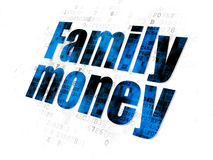 Banking concept: Family Money on Digital. Banking concept: Pixelated blue text Family Money on Digital background Royalty Free Stock Images