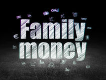 Banking concept: Family Money in grunge dark room. Banking concept: Glowing text Family Money,  Hand Drawn Finance Icons in grunge dark room with Dirty Floor Stock Photo