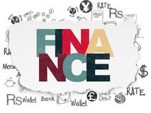 Banking concept: Finance on Torn Paper background. Banking concept: Painted multicolor text Finance on Torn Paper background with  Hand Drawn Finance Icons Stock Image