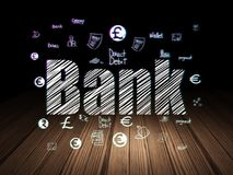 Banking concept: Bank in grunge dark room. Banking concept: Glowing text Bank,  Hand Drawn Finance Icons in grunge dark room with Wooden Floor, black background Royalty Free Stock Photos