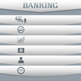 Banking-concept-on-gray-background-with-a-card-icon Stock Photography