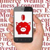 Banking concept: Hand Holding Smartphone with Money Box With Coin on display. Banking concept: Hand Holding Smartphone with red Money Box With Coin icon on royalty free stock image