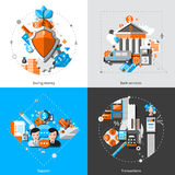 Banking Concept Icons. Banking design concept set with saving money and transaction support icons  vector illustration Stock Image