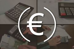 Concept of banking. Banking concept illustrated by pictures on background royalty free stock photo