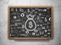 Banking concept: Money Bag on School board background. Banking concept: Chalk White Money Bag icon on School board background with  Hand Drawn Finance Icons, 3D Stock Image