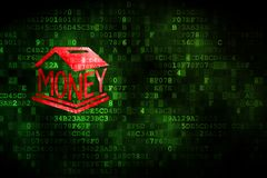 Banking concept: Money Box on digital background. Banking concept: pixelated Money Box icon on digital background, empty copyspace for card, text, advertising Royalty Free Stock Photography