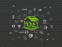 Banking concept: Money Box on wall background. Banking concept: Painted green Money Box icon on Black Brick wall background with  Hand Drawn Finance Icons Stock Photo
