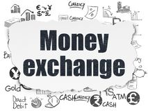 Banking concept: Money Exchange on Torn Paper background. Banking concept: Painted black text Money Exchange on Torn Paper background with  Hand Drawn Finance Royalty Free Stock Image