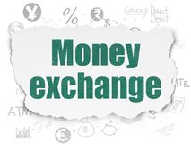 Banking concept: Money Exchange on Torn Paper background. Banking concept: Painted green text Money Exchange on Torn Paper background with Scheme Of Hand Drawn Stock Photography