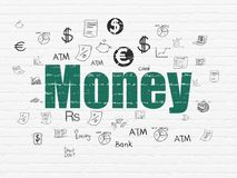 Banking concept: Money on wall background Stock Photography
