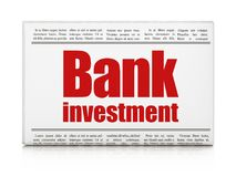 Banking concept: newspaper headline Bank Investment. On White background, 3D rendering Stock Photography