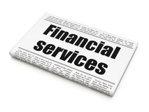 Banking concept: newspaper headline Financial Services. On White background, 3D rendering Royalty Free Stock Photos