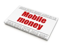 Banking concept: newspaper headline Mobile Money. On White background, 3D rendering Royalty Free Stock Photo