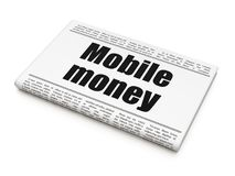 Banking concept: newspaper headline Mobile Money. On White background, 3D rendering Royalty Free Stock Image