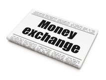 Banking concept: newspaper headline Money Exchange. On White background, 3D rendering Royalty Free Stock Images