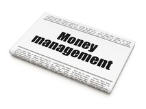 Banking concept: newspaper headline Money Management. On White background, 3D rendering Royalty Free Stock Photo