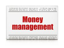 Banking concept: newspaper headline Money Management. On White background, 3D rendering Stock Photos