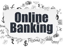 Banking concept: Online Banking on Torn Paper background. Banking concept: Painted black text Online Banking on Torn Paper background with  Hand Drawn Finance Stock Photo