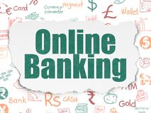 Banking concept: Online Banking on Torn Paper background. Banking concept: Painted green text Online Banking on Torn Paper background with  Hand Drawn Finance Royalty Free Stock Photo