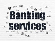Banking concept: Banking Services on wall background. Banking concept: Painted black text Banking Services on White Brick wall background with  Hand Drawn Stock Photos