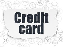 Banking concept: Credit Card on Torn Paper background. Banking concept: Painted black text Credit Card on Torn Paper background with Scheme Of Hand Drawn Finance Royalty Free Stock Image