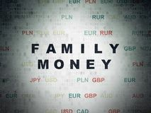 Banking concept: Family Money on Digital Data Paper background. Banking concept: Painted black text Family Money on Digital Data Paper background with Currency Stock Images