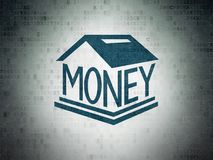 Banking concept: Money Box on Digital Data Paper background. Banking concept: Painted blue Money Box icon on Digital Data Paper background Stock Photography