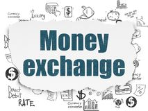 Banking concept: Money Exchange on Torn Paper background. Banking concept: Painted blue text Money Exchange on Torn Paper background with  Hand Drawn Finance Royalty Free Stock Photography