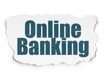 Banking concept: Online Banking on Torn Paper background. Banking concept: Painted blue text Online Banking on Torn Paper background with Scheme Of Hand Drawn Royalty Free Stock Images