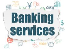 Banking concept: Banking Services on Torn Paper background Stock Images