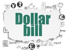 Banking concept: Dollar Bill on Torn Paper background. Banking concept: Painted green text Dollar Bill on Torn Paper background with  Hand Drawn Finance Icons Royalty Free Stock Photography