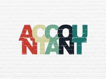 Banking concept: Accountant on wall background. Banking concept: Painted multicolor text Accountant on White Brick wall background Stock Photos