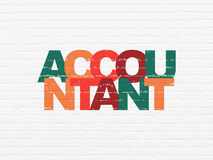 Banking concept: Accountant on wall background. Banking concept: Painted multicolor text Accountant on White Brick wall background Royalty Free Stock Photography