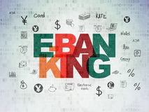 Banking concept: E-Banking on Digital Data Paper background. Banking concept: Painted multicolor text E-Banking on Digital Data Paper background with  Hand Drawn Stock Photos