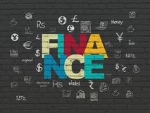 Banking concept: Finance on wall background. Banking concept: Painted multicolor text Finance on Black Brick wall background with  Hand Drawn Finance Icons Stock Photo